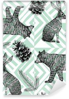 Papier Peint Vinyle Main hiver dessiné motif tendance, fond géométrique