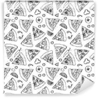 Papier Peint Vinyle Main vecteur tracé seamless pattern - pizza. Types de pizza: pepperoni, Margherita, Hawaiian, champignons. le style Sketch
