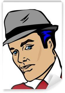 Papier Peint Vinyle Man portrait rétro, le style pin-up vintage, chapeau