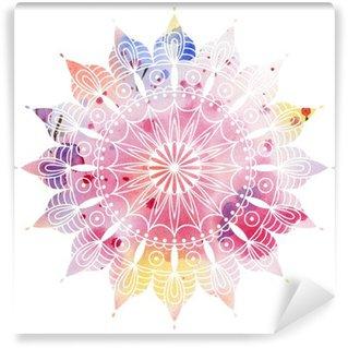 Papier Peint Vinyle Mandala aquarelle colorée. Beau motif rond. Détail motif abstrait. Décoratif isolé.