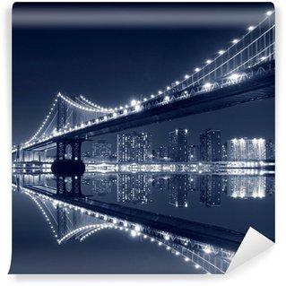 Papier Peint Vinyle Manhattan Bridge et Manhattan At Night