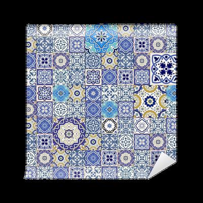 papier peint mega motif patchwork transparente de carreaux. Black Bedroom Furniture Sets. Home Design Ideas