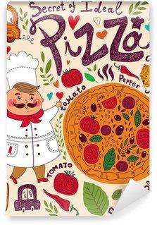 Papier Peint Vinyle Menu conception de pizza avec le chef