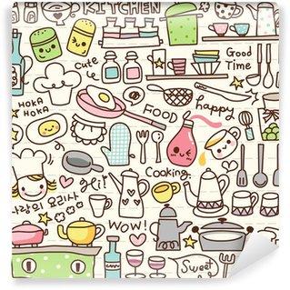 Papier Peint Vinyle Mignon trucs cuisine doodle