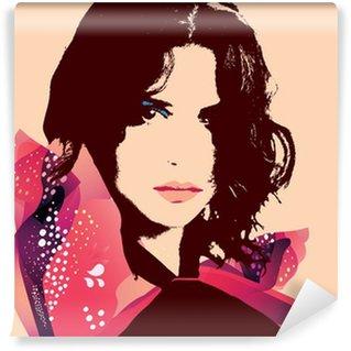 Papier Peint Vinyle Mode portrait femme-Vector Illustration