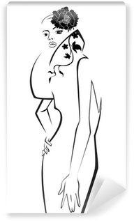 Papier Peint Vinyle Modèle de mode. Scetch. Vector illustration