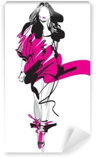 Papier Peint Vinyle Modèle de mode. Sketch. Vector illustration