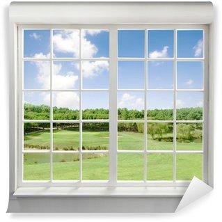 Papier Peint Vinyle Moderne fenêtre résidentiel avec vue sur le lac