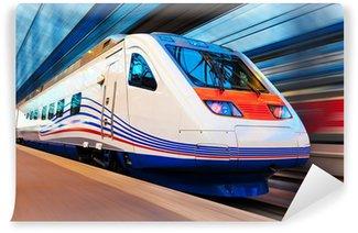 Papier Peint Vinyle Moderne train à grande vitesse avec motion blur