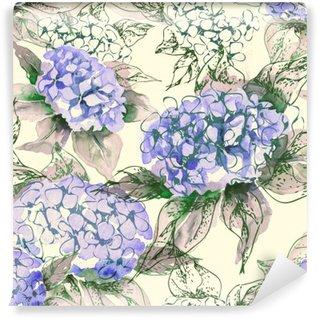 Papier Peint Vinyle Motif Aquarelle Hortensia Seamless
