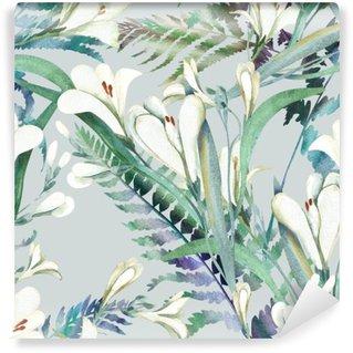 Papier Peint Vinyle Motif continu avec Crocosmia Fleurs