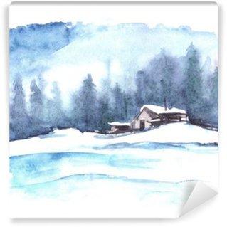 Papier Peint Vinyle Motif d'hiver Aquarelle. Paysage de campagne. La photo montre une maison, l'épinette, le pin, la forêt, la neige et les dérives.