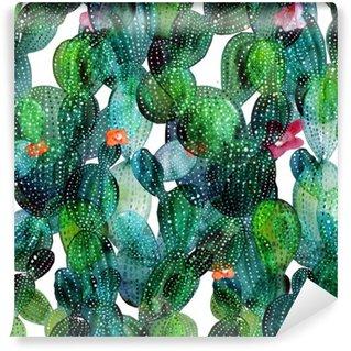 Papier Peint Vinyle Motif de Cactus dans le style d'aquarelle