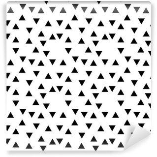 Papier Peint Vinyle Motif de triangle aléatoire abstrait géométrique noir et blanc mode hipster