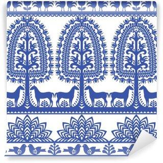 Papier Peint Vinyle Motif floral pattern d'art populaire polonais Wycinanki Kurpiowskie - Kurpie Papercuts