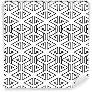 Papier Peint Vinyle Motif oreiller de mode abstrait géométrique hippie noir et blanc