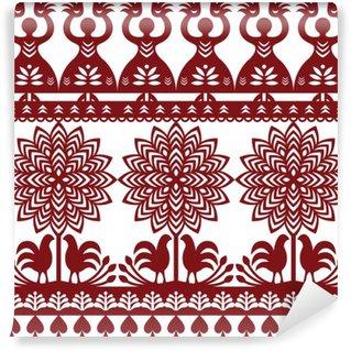 Papier Peint Vinyle Motif polonais Seamless art populaire Wycinanki Kurpiowskie - Kurpie Papercuts