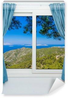 Papier Peint Vinyle Nature paysage avec une vue à travers une fenêtre avec des rideaux