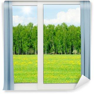 Papier Peint Vinyle Nature paysage avec une vue à travers une fenêtre