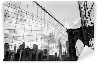 Papier Peint Vinyle New York City, Pont de Brooklyn noir de l'horizon et blanc