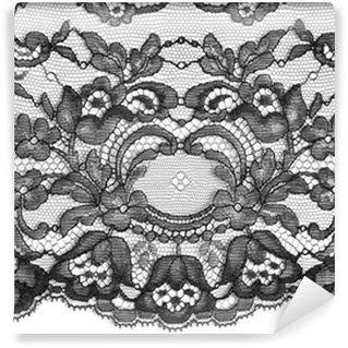 Papier Peint Vinyle Noir texture fine dentelle florale
