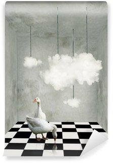 Papier Peint Vinyle Nuages et canards dans une pièce surréaliste