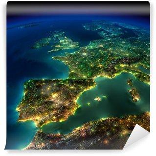 Papier Peint Vinyle Nuit Terre. Un morceau de l'Europe - Espagne, Portugal, France
