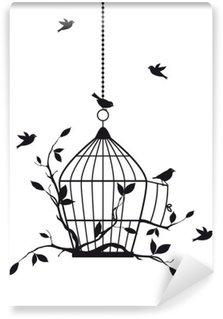Papier Peint Vinyle Oiseaux libres avec cage ouverte, vecteur