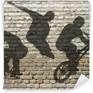 Papier Peint Vinyle Ombres de Skate, Roller & BMX sur mur de briques