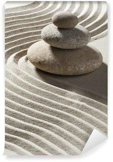 Papier Peint Vinyle Onde zen sur sable et galets Trois