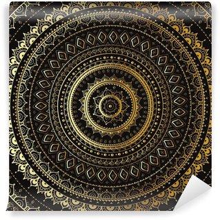 Papier Peint Vinyle Or Mandala. Motif décoratif indien.