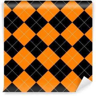 Papier Peint Vinyle Orange noir blanc échiquier diamant fond vector illustration