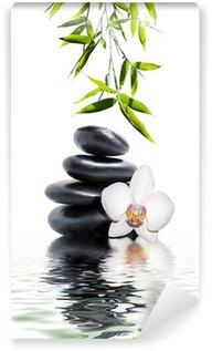 Papier Peint Vinyle Orchidée blanche fleur fin bambou