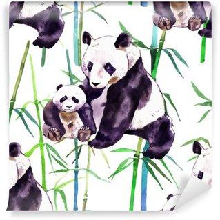 Papier Peint Vinyle Panda aquarelle. ours panda et bébé ours. Panda Bear aquarelle illustration isolé sur fond blanc
