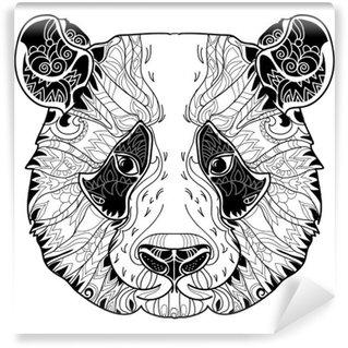 Papier Peint Vinyle Panda tête doodle sur fond blanc.