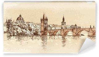 Papier Peint Vinyle Panorama de Prague. Vue du pont Charles et la rivière Vltava.