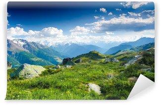 Papier Peint Vinyle Panorama matinal de la montagne