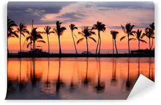 Papier Peint Vinyle Paradise Beach coucher du soleil tropical de palmiers