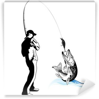 Papier Peint Vinyle Pêcheur a attrapé un brochet, illustration vectorielle