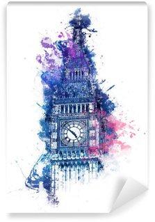 Papier Peint Vinyle Peinture colorée d'aquarelle de Big Ben