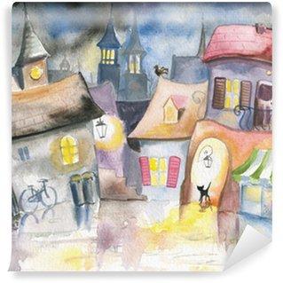 Papier Peint Vinyle Petite ville dans la nuit