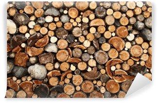 Papier Peint Vinyle Pile de bois de chauffage coupé