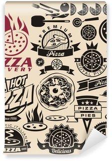Papier Peint Vinyle Pizza icônes, étiquettes, enseignes, conception de logos et éléments de conception