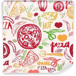 Papier Peint Vinyle Pizza tiré par la main seamless olives, des mots, des tomates et des tranches pour les bannières, le papier d'emballage.