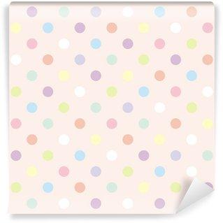 Papier Peint Vinyle Points colorés fond rose modèle vectoriel sans soudure rétro