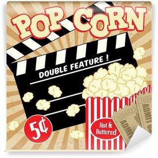 Papier Peint Vinyle Popcorn avec clap et des billets de cinéma affiche vintage