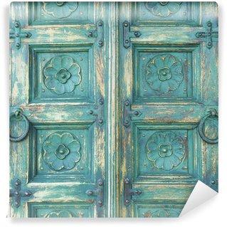 Papier Peint Vinyle Porte en bois de couleur verte