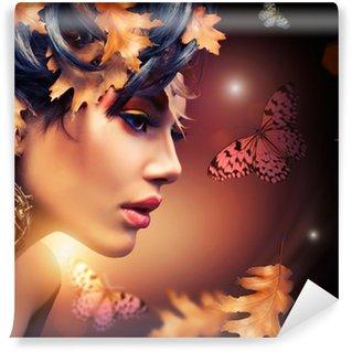 Papier Peint Vinyle Portrait Autumn Fashion Femme. Tomber