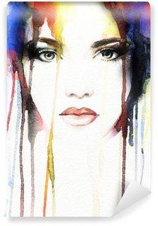 Papier Peint Vinyle Portrait de femme. aquarelle abstraite