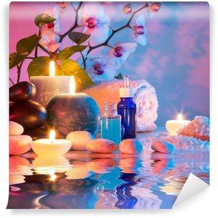 Papier Peint Vinyle Préparation pour le bain massage en chromothérapie - cyan rouge